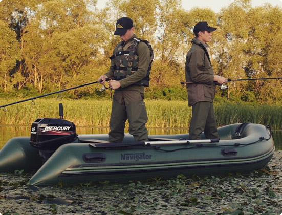 Two man fishing using Navigator Inflatable Boats